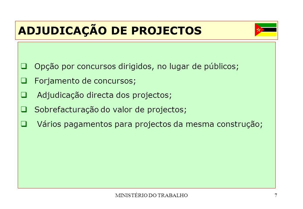 MINISTÉRIO DO TRABALHO7 Opção por concursos dirigidos, no lugar de públicos; Forjamento de concursos; Adjudicação directa dos projectos; Sobrefacturaç
