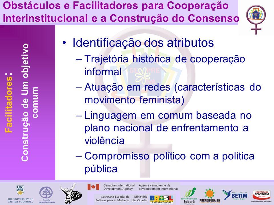 Identificação dos atributos –Trajetória histórica de cooperação informal –Atuação em redes (características do movimento feminista) –Linguagem em comu