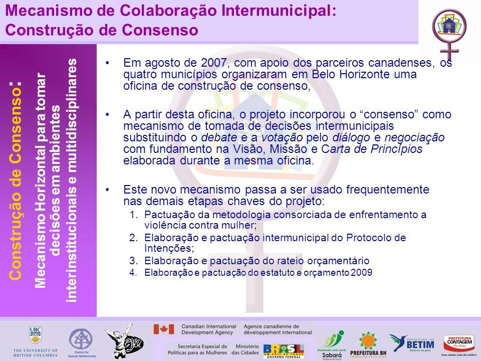 Mecanismo de Colaboração Intermunicipal: Construção de Consenso Em agosto de 2007, com apoio dos parceiros canadenses, os quatro municípios organizara