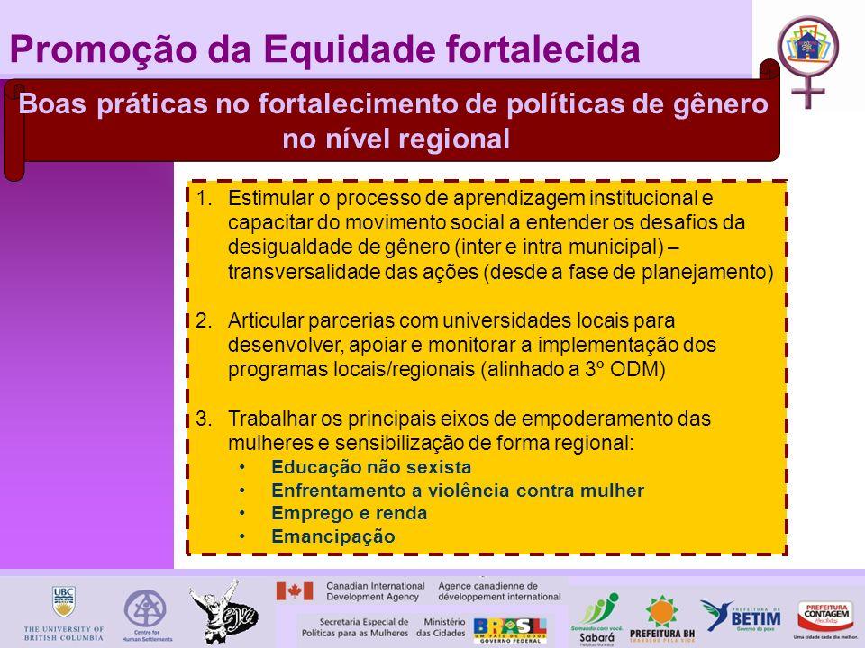Promoção da Equidade fortalecida Boas práticas no fortalecimento de políticas de gênero no nível regional 1.Estimular o processo de aprendizagem insti