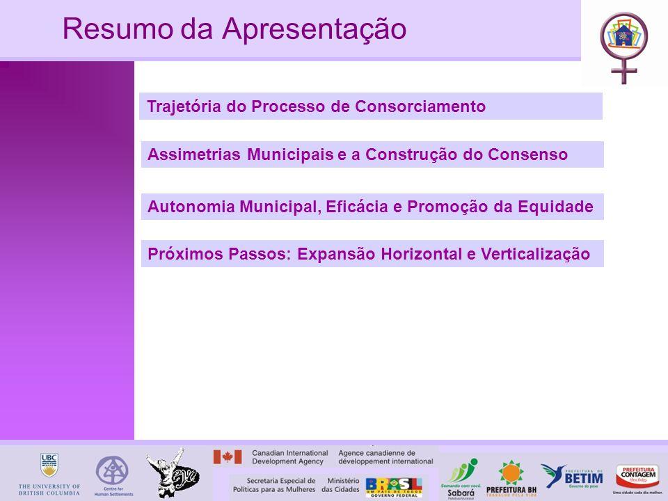Resumo da Apresentação Trajetória do Processo de Consorciamento Autonomia Municipal, Eficácia e Promoção da Equidade Próximos Passos: Expansão Horizontal e Verticalização Assimetrias Municipais e a Construção do Consenso