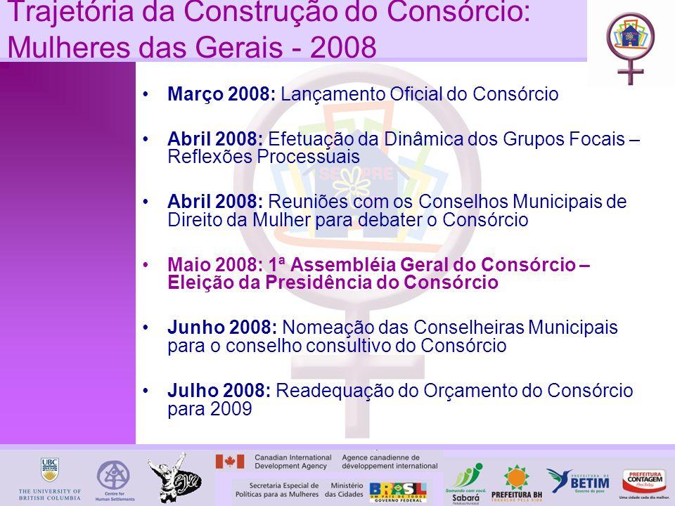 Março 2008: Lançamento Oficial do Consórcio Abril 2008: Efetuação da Dinâmica dos Grupos Focais – Reflexões Processuais Abril 2008: Reuniões com os Conselhos Municipais de Direito da Mulher para debater o Consórcio Maio 2008: 1ª Assembléia Geral do Consórcio – Eleição da Presidência do Consórcio Junho 2008: Nomeação das Conselheiras Municipais para o conselho consultivo do Consórcio Julho 2008: Readequação do Orçamento do Consórcio para 2009 Trajetória da Construção do Consórcio: Mulheres das Gerais - 2008