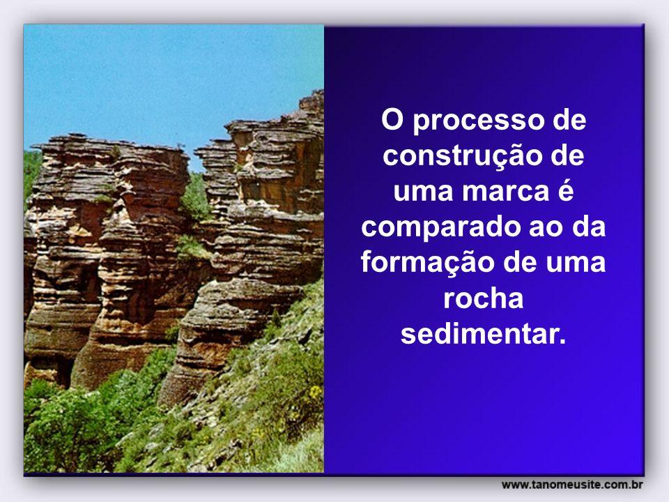 O processo de construção de uma marca é comparado ao da formação de uma rocha sedimentar.