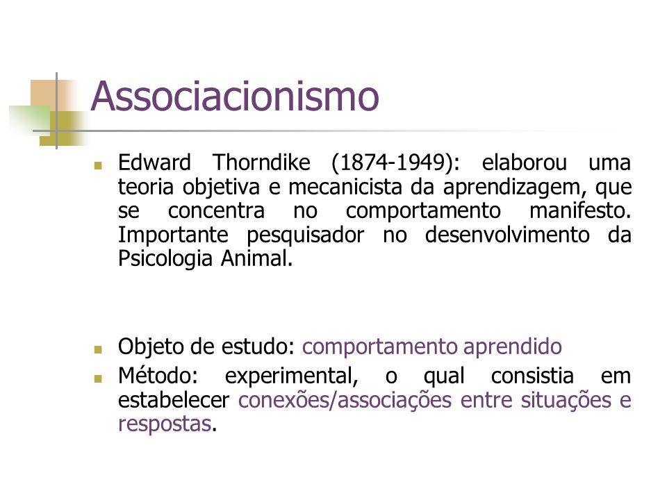 Associacionismo Edward Thorndike (1874-1949): elaborou uma teoria objetiva e mecanicista da aprendizagem, que se concentra no comportamento manifesto.