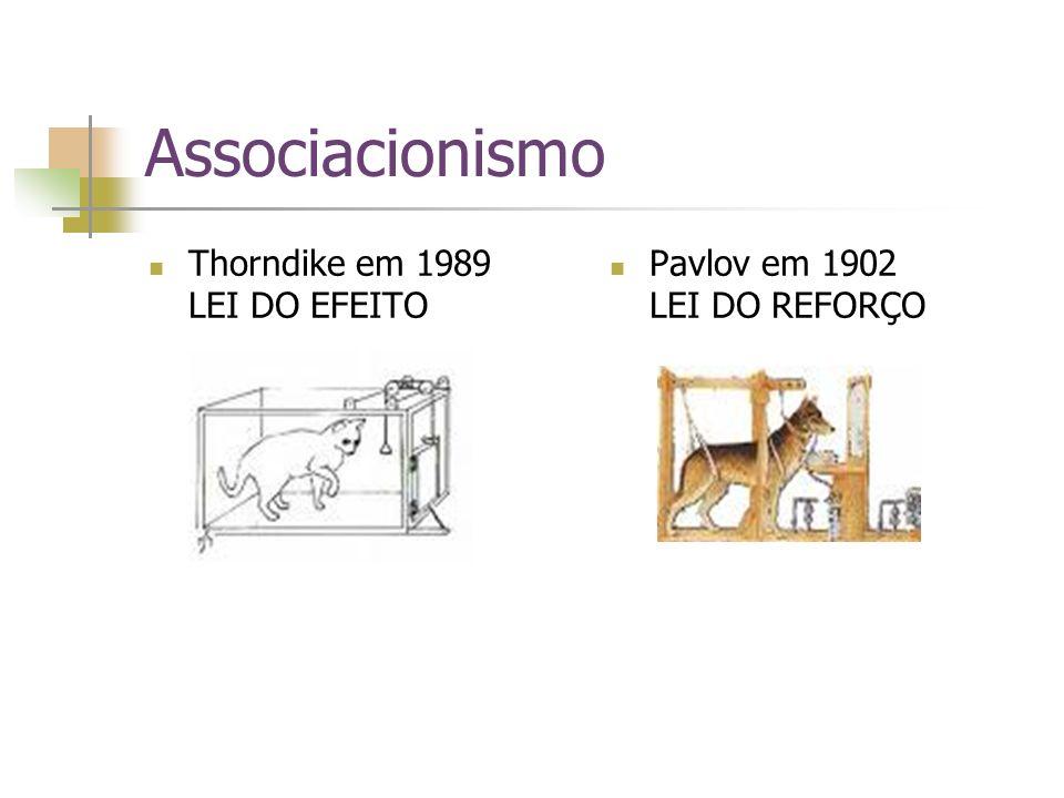 Associacionismo Thorndike em 1989 LEI DO EFEITO Pavlov em 1902 LEI DO REFORÇO