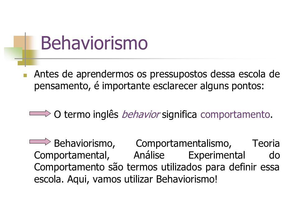 Behaviorismo Antes de aprendermos os pressupostos dessa escola de pensamento, é importante esclarecer alguns pontos: O termo inglês behavior significa