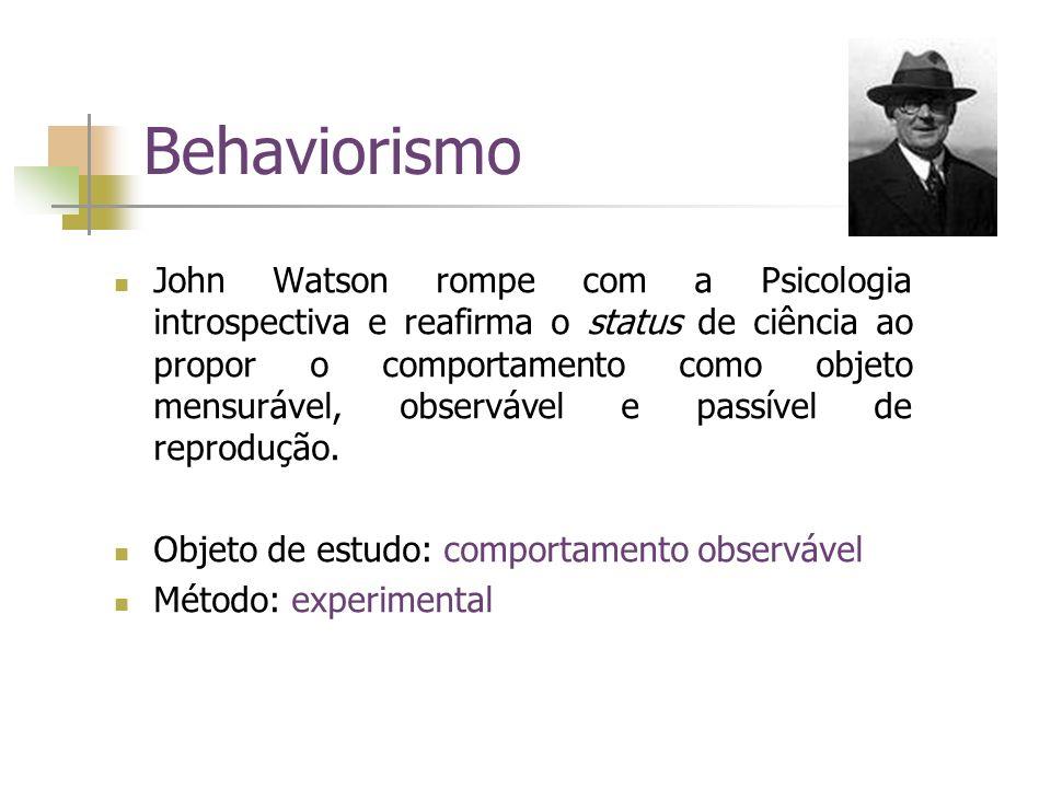 Behaviorismo John Watson rompe com a Psicologia introspectiva e reafirma o status de ciência ao propor o comportamento como objeto mensurável, observá