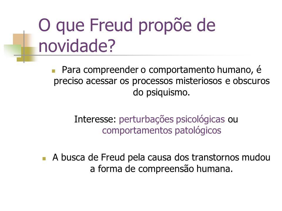 O que Freud propõe de novidade? Para compreender o comportamento humano, é preciso acessar os processos misteriosos e obscuros do psiquismo. Interesse