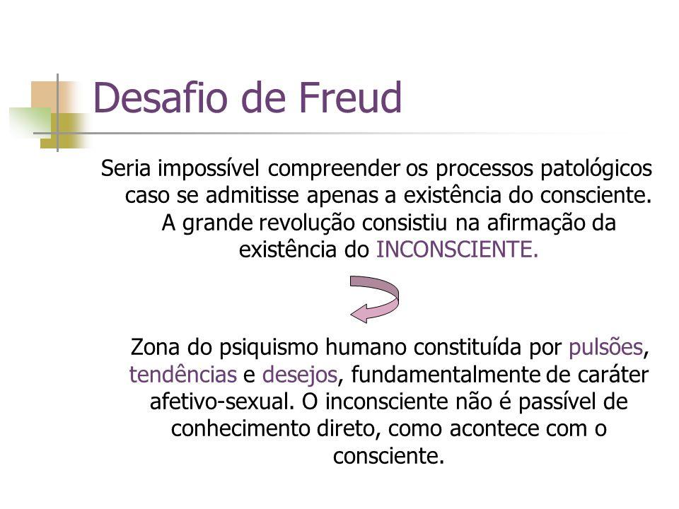 Desafio de Freud Seria impossível compreender os processos patológicos caso se admitisse apenas a existência do consciente. A grande revolução consist