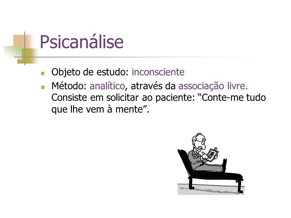 Psicanálise Objeto de estudo: inconsciente Método: analítico, através da associação livre. Consiste em solicitar ao paciente: Conte-me tudo que lhe ve