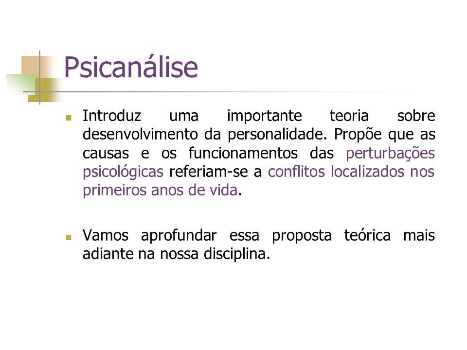 Psicanálise Introduz uma importante teoria sobre desenvolvimento da personalidade. Propõe que as causas e os funcionamentos das perturbações psicológi