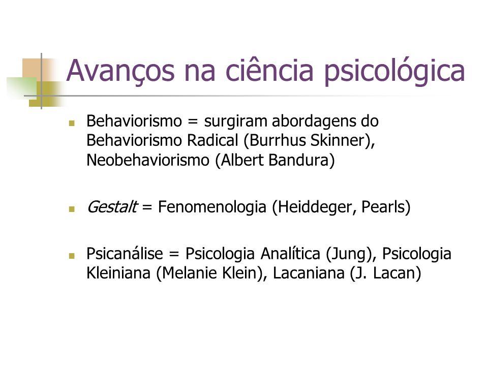 Avanços na ciência psicológica Behaviorismo = surgiram abordagens do Behaviorismo Radical (Burrhus Skinner), Neobehaviorismo (Albert Bandura) Gestalt
