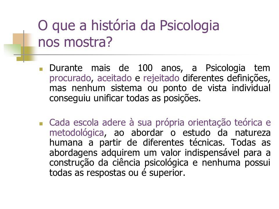 O que a história da Psicologia nos mostra? Durante mais de 100 anos, a Psicologia tem procurado, aceitado e rejeitado diferentes definições, mas nenhu