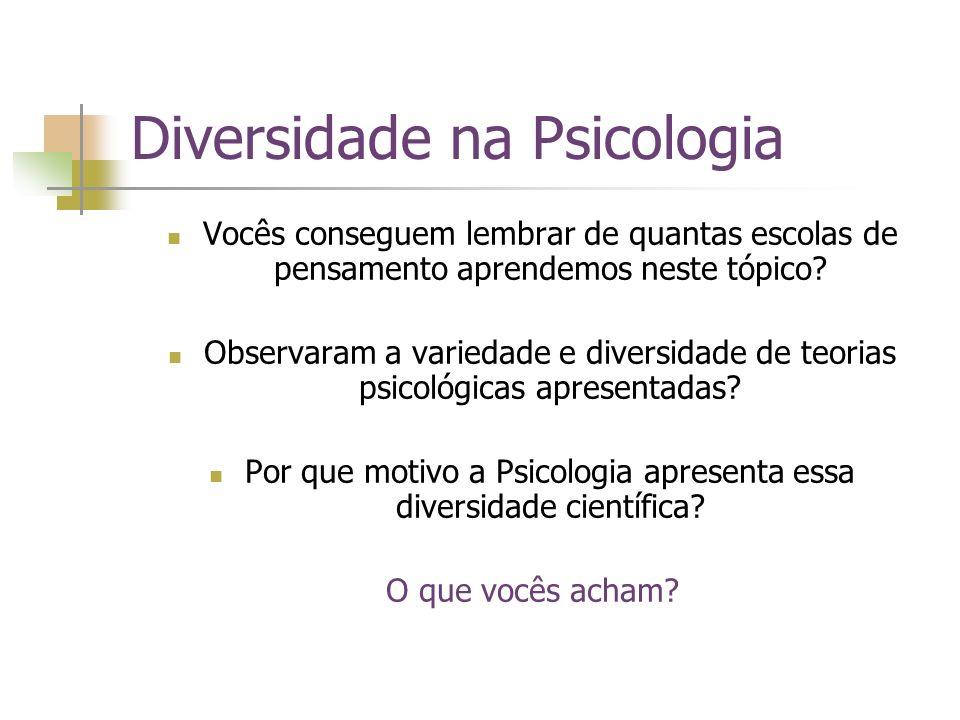 Diversidade na Psicologia Vocês conseguem lembrar de quantas escolas de pensamento aprendemos neste tópico? Observaram a variedade e diversidade de te