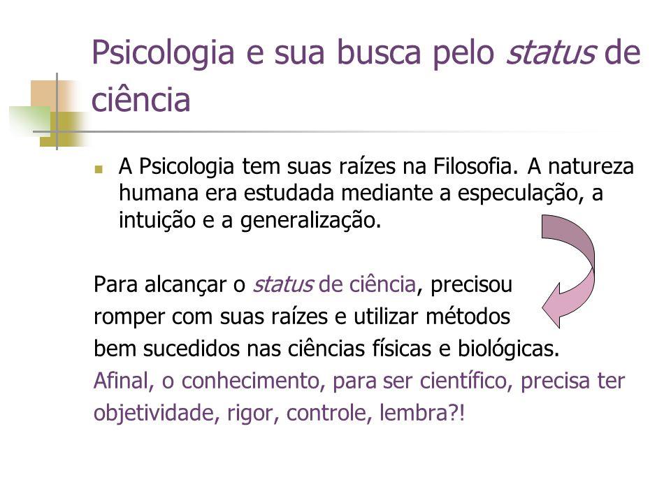 Psicologia e sua busca pelo status de ciência A Psicologia tem suas raízes na Filosofia. A natureza humana era estudada mediante a especulação, a intu
