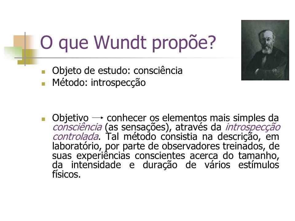 O que Wundt propõe? Objeto de estudo: consciência Método: introspecção Objetivo conhecer os elementos mais simples da consciência (as sensações), atra