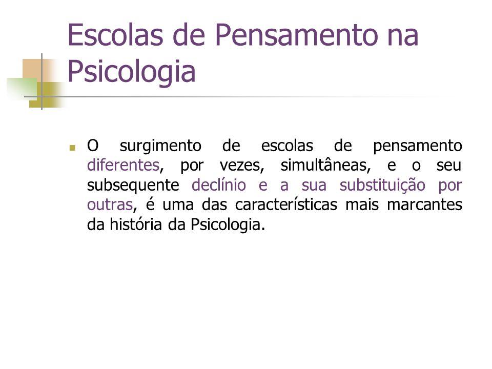 Escolas de Pensamento na Psicologia O surgimento de escolas de pensamento diferentes, por vezes, simultâneas, e o seu subsequente declínio e a sua sub