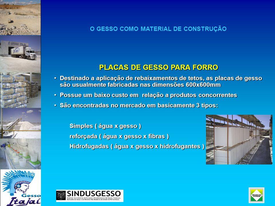 O GESSO COMO MATERIAL DE CONSTRUÇÃO PLACAS DE GESSO PARA FORRO Destinado a aplicação de rebaixamentos de tetos, as placas de gesso são usualmente fabr