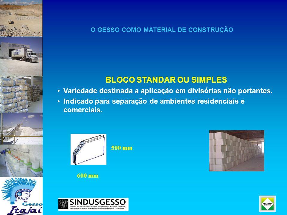 O GESSO COMO MATERIAL DE CONSTRUÇÃO BLOCO STANDAR OU SIMPLES Variedade destinada a aplicação em divisórias não portantes. Indicado para separação de a