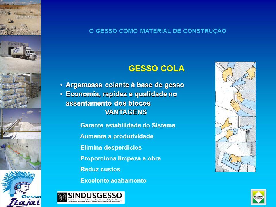 O GESSO COMO MATERIAL DE CONSTRUÇÃO GESSO COLA Argamassa colante à base de gessoArgamassa colante à base de gesso Economia, rapidez e qualidade noEcon