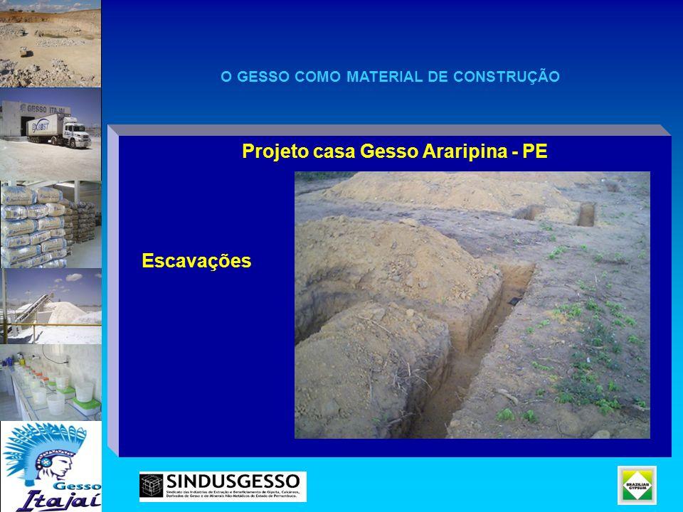 Projeto casa Gesso Araripina - PE Escavações O GESSO COMO MATERIAL DE CONSTRUÇÃO
