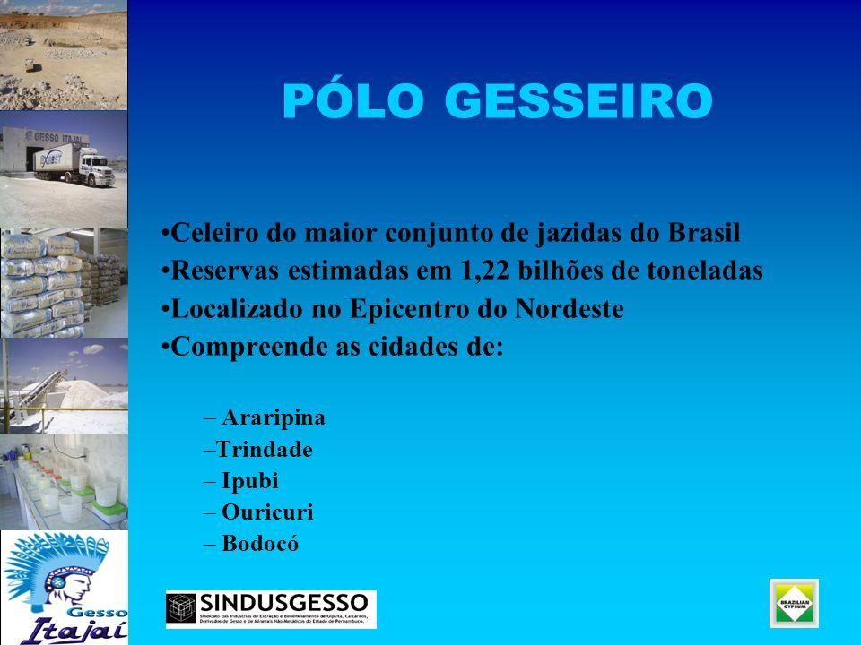 PÓLO GESSEIRO Celeiro do maior conjunto de jazidas do Brasil Reservas estimadas em 1,22 bilhões de toneladas Localizado no Epicentro do Nordeste Compr