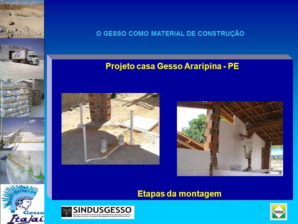 Projeto casa Gesso Araripina - PE Etapas da montagem O GESSO COMO MATERIAL DE CONSTRUÇÃO