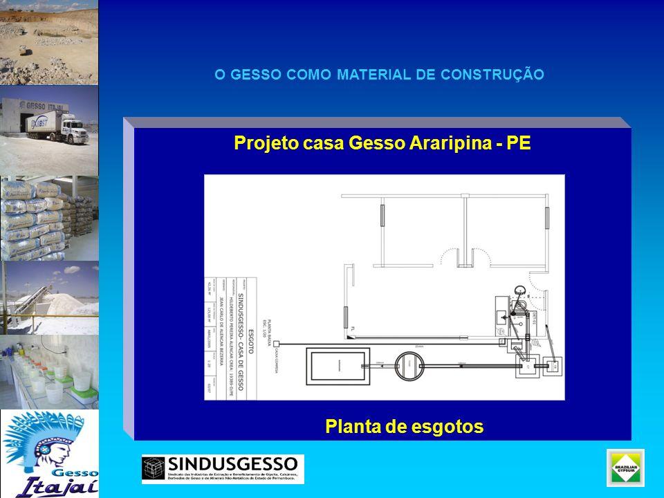 Projeto casa Gesso Araripina - PE Planta de esgotos O GESSO COMO MATERIAL DE CONSTRUÇÃO