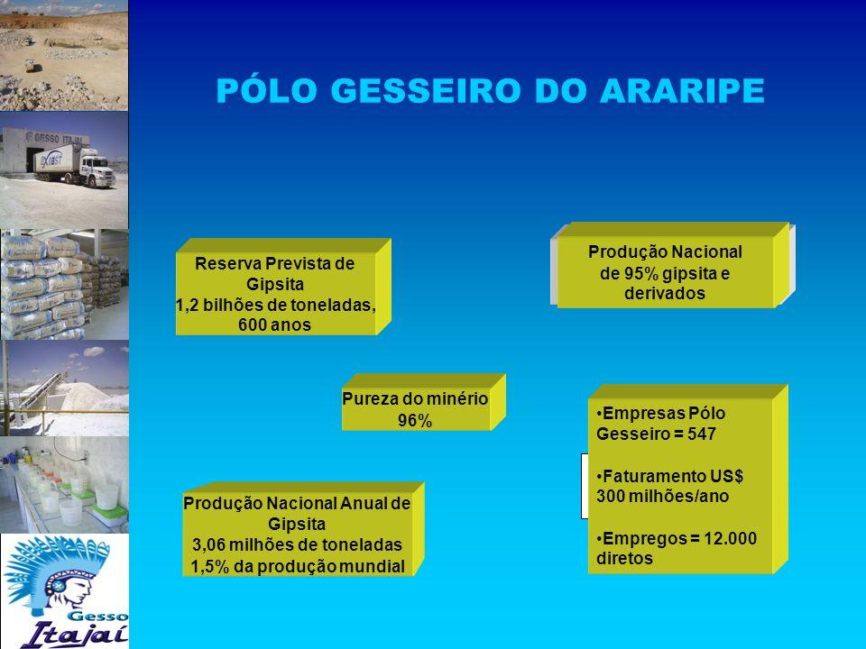 PÓLO GESSEIRO DO ARARIPE Reserva Prevista de Gipsita 1,2 bilhões de toneladas, 600 anos Produção Nacional Anual de Gipsita 3,06 milhões de toneladas 1