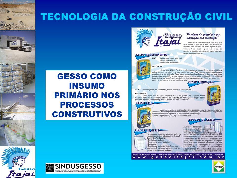 TECNOLOGIA DA CONSTRUÇÃO CIVIL GESSO COMO INSUMO PRIMÁRIO NOS PROCESSOS CONSTRUTIVOS