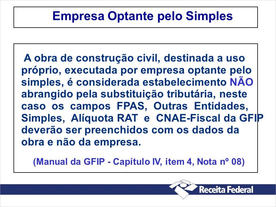 Empresa Optante pelo Simples A obra de construção civil, destinada a uso próprio, executada por empresa optante pelo simples, é considerada estabeleci