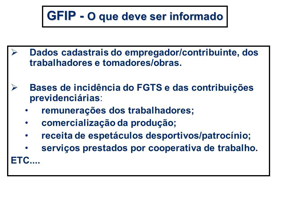 Dados cadastrais do empregador/contribuinte, dos trabalhadores e tomadores/obras. Bases de incidência do FGTS e das contribuições previdenciárias: rem
