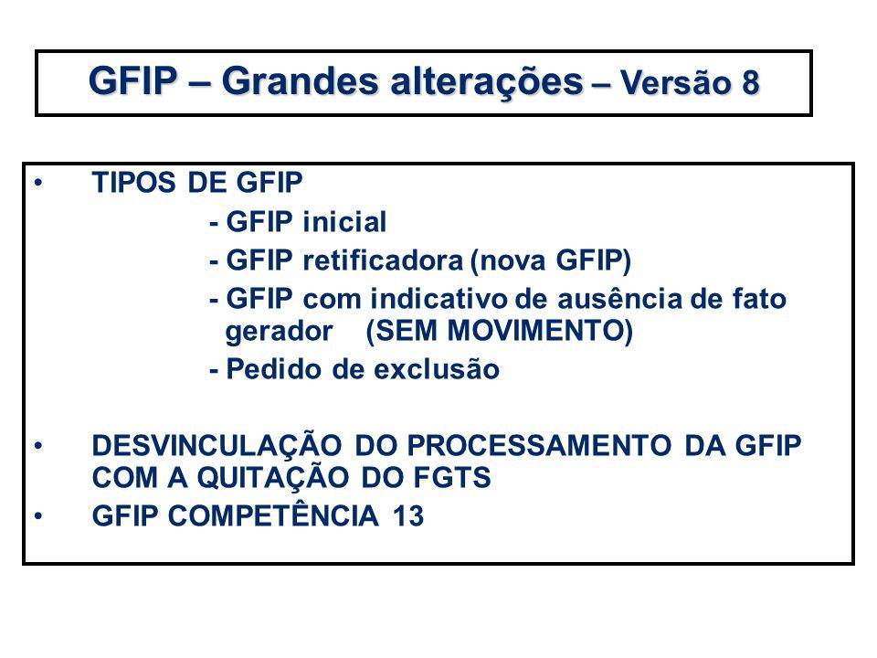 TIPOS DE GFIP - GFIP inicial - GFIP retificadora (nova GFIP) - GFIP com indicativo de ausência de fato gerador (SEM MOVIMENTO) - Pedido de exclusão DE