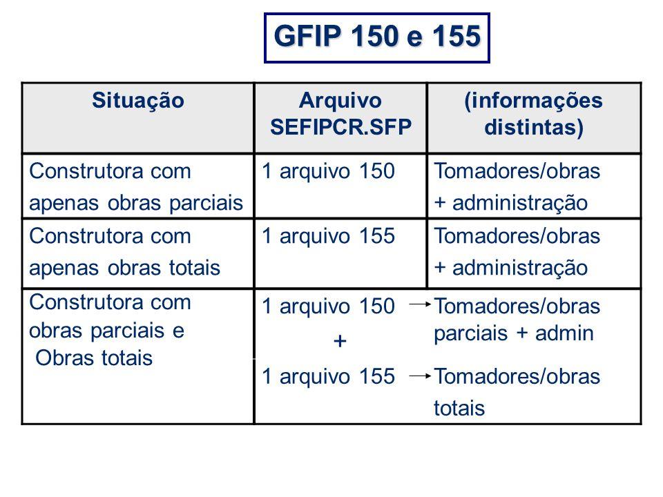 GFIP 150 e 155 SituaçãoArquivo SEFIPCR.SFP (informações distintas) Construtora com apenas obras parciais 1 arquivo 150Tomadores/obras + administração