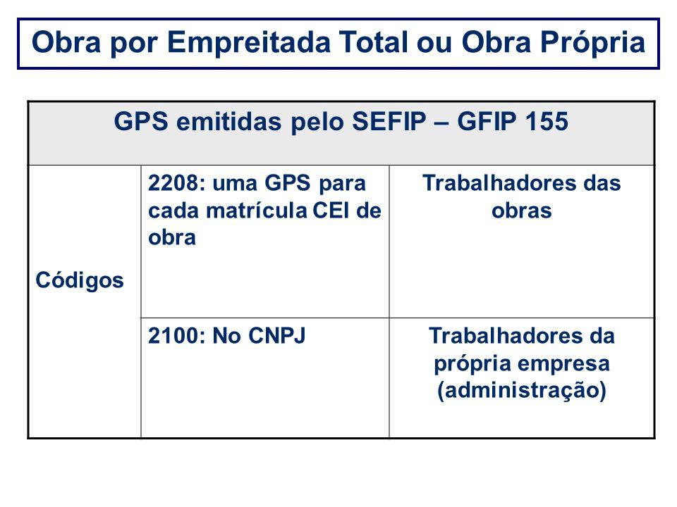Obra por Empreitada Total ou Obra Própria GPS emitidas pelo SEFIP – GFIP 155 Códigos 2208: uma GPS para cada matrícula CEI de obra Trabalhadores das o