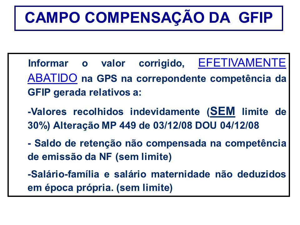 Informar o valor corrigido, EFETIVAMENTE ABATIDO na GPS na correpondente competência da GFIP gerada relativos a: -Valores recolhidos indevidamente ( S