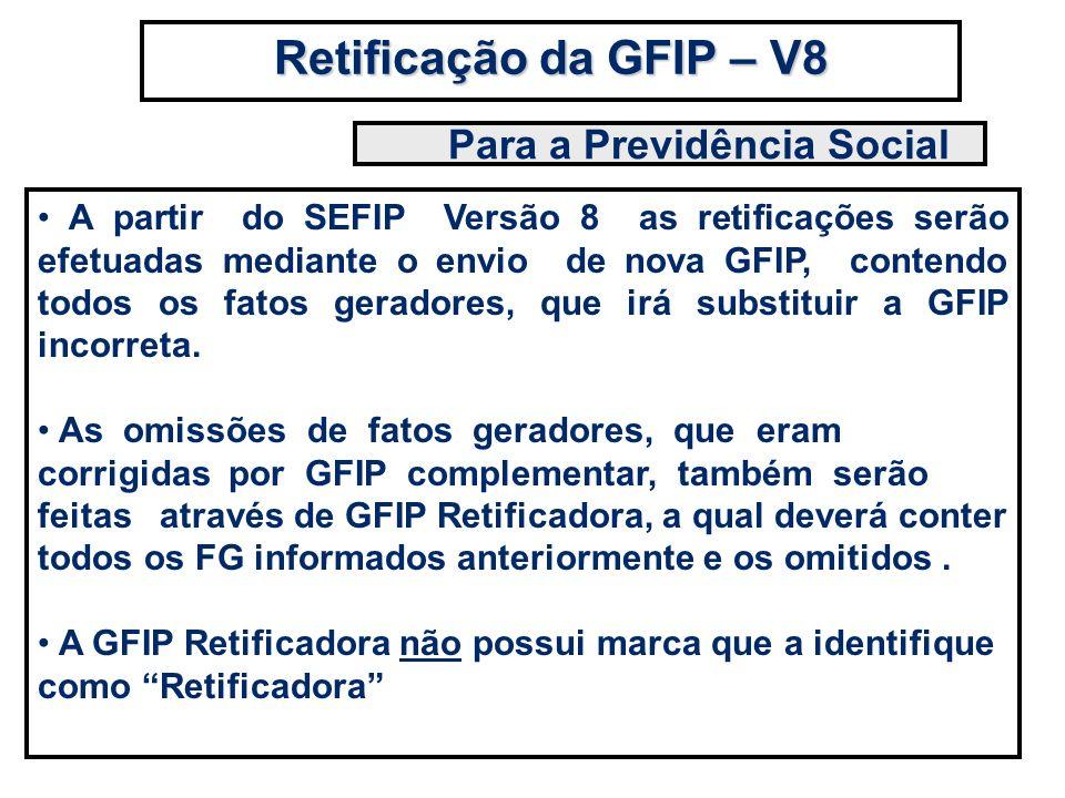 A partir do SEFIP Versão 8 as retificações serão efetuadas mediante o envio de nova GFIP, contendo todos os fatos geradores, que irá substituir a GFIP