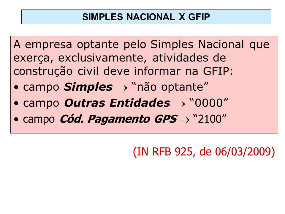 A empresa optante pelo Simples Nacional que exerça, exclusivamente, atividades de construção civil deve informar na GFIP: campo Simples não optante ca