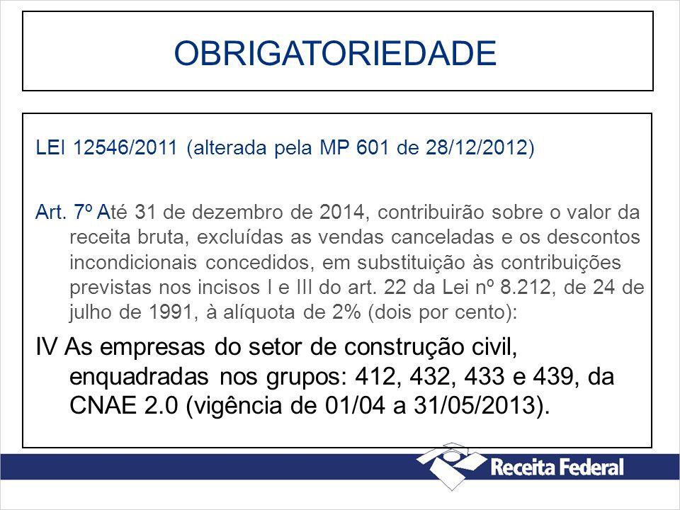 OBRIGATORIEDADE LEI 12546/2011 (alterada pela MP 601 de 28/12/2012) Art. 7º Até 31 de dezembro de 2014, contribuirão sobre o valor da receita bruta, e