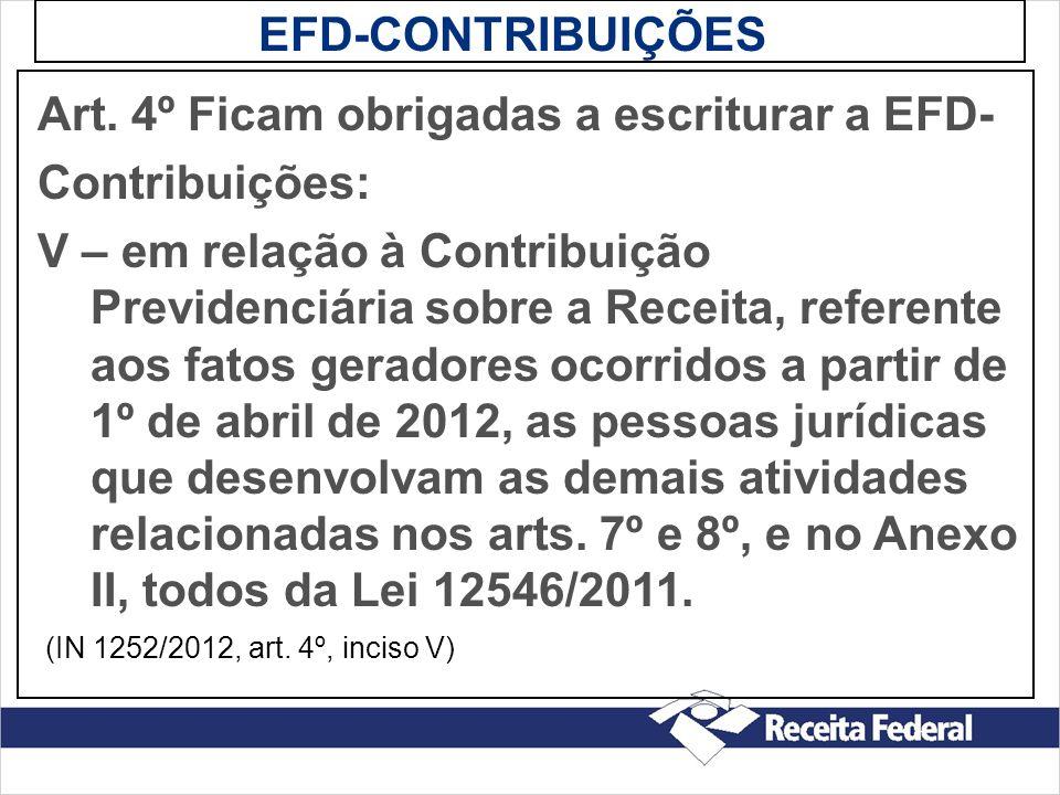 EFD-CONTRIBUIÇÕES Art. 4º Ficam obrigadas a escriturar a EFD- Contribuições: V – em relação à Contribuição Previdenciária sobre a Receita, referente a