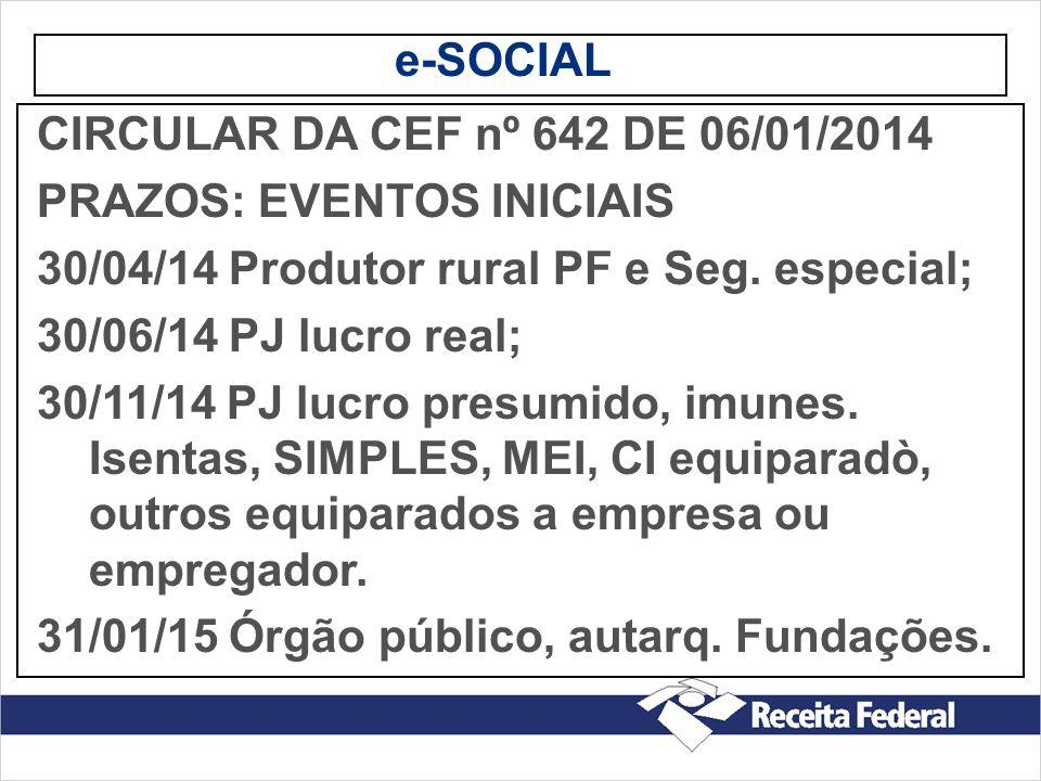 e-SOCIAL CIRCULAR DA CEF nº 642 DE 06/01/2014 PRAZOS: EVENTOS INICIAIS 30/04/14 Produtor rural PF e Seg. especial; 30/06/14 PJ lucro real; 30/11/14 PJ