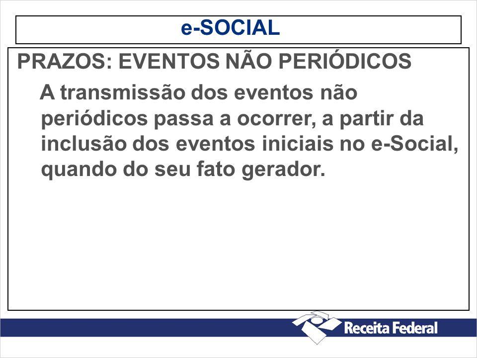 e-SOCIAL PRAZOS: EVENTOS NÃO PERIÓDICOS A transmissão dos eventos não periódicos passa a ocorrer, a partir da inclusão dos eventos iniciais no e-Socia