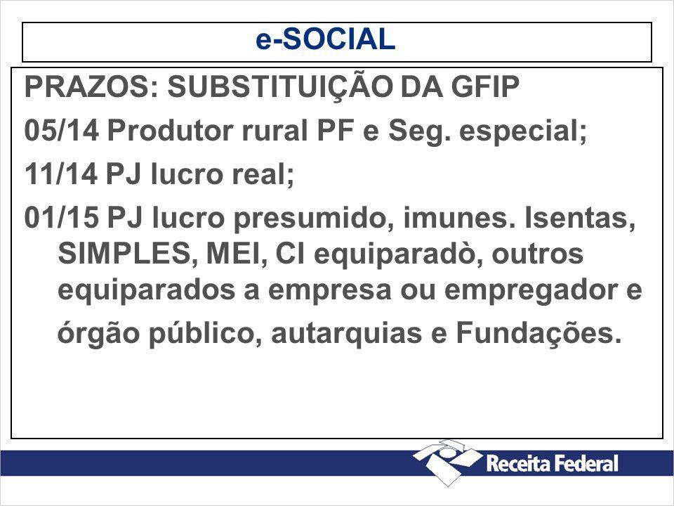 e-SOCIAL PRAZOS: SUBSTITUIÇÃO DA GFIP 05/14 Produtor rural PF e Seg. especial; 11/14 PJ lucro real; 01/15 PJ lucro presumido, imunes. Isentas, SIMPLES