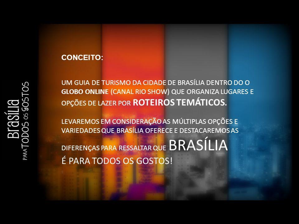 CONCEITO: UM GUIA DE TURISMO DA CIDADE DE BRASÍLIA DENTRO DO O GLOBO ONLINE (CANAL RIO SHOW) QUE ORGANIZA LUGARES E OPÇÕES DE LAZER POR ROTEIROS TEMÁTICOS.