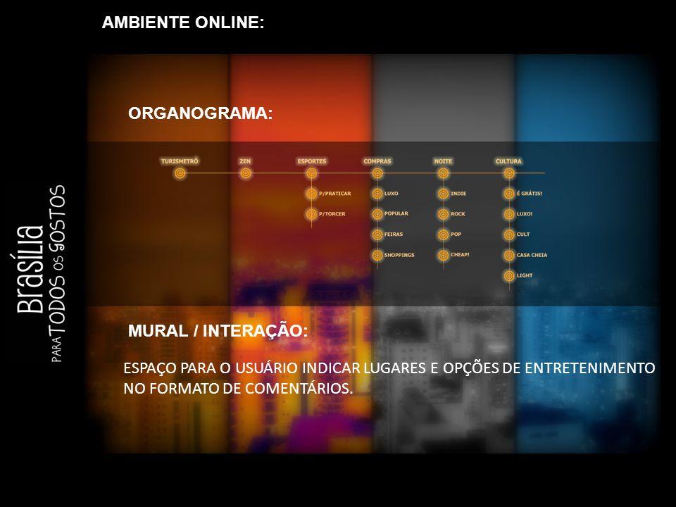 AMBIENTE ONLINE: ESPAÇO PARA O USUÁRIO INDICAR LUGARES E OPÇÕES DE ENTRETENIMENTO NO FORMATO DE COMENTÁRIOS.