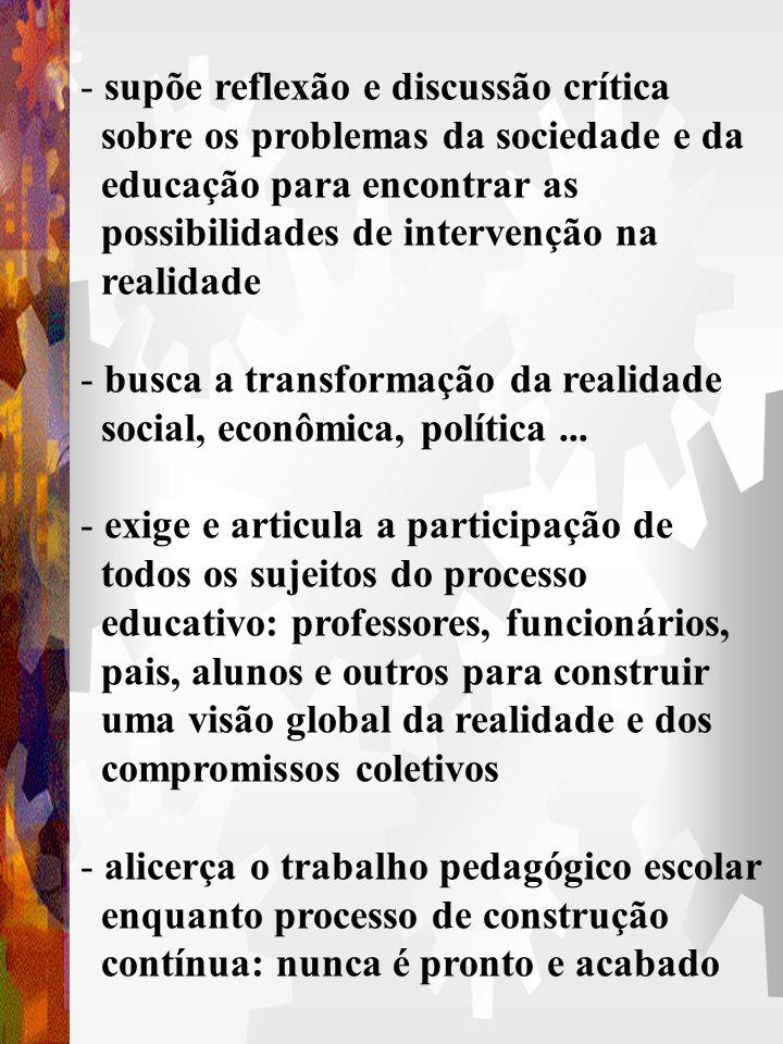 Projeto Político-Pedagógico 1. O que é? É a própria organização do trabalho pedagógico escolar como um todo, em suas especificidades, níveis e modalid