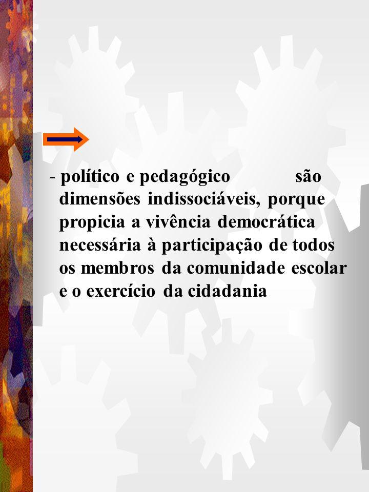 4.3. POLÍTICO - porque pressupõe a opção e compromisso com a formação do cidadão para um determinado tipo de sociedade A dimensão política se cumpre n