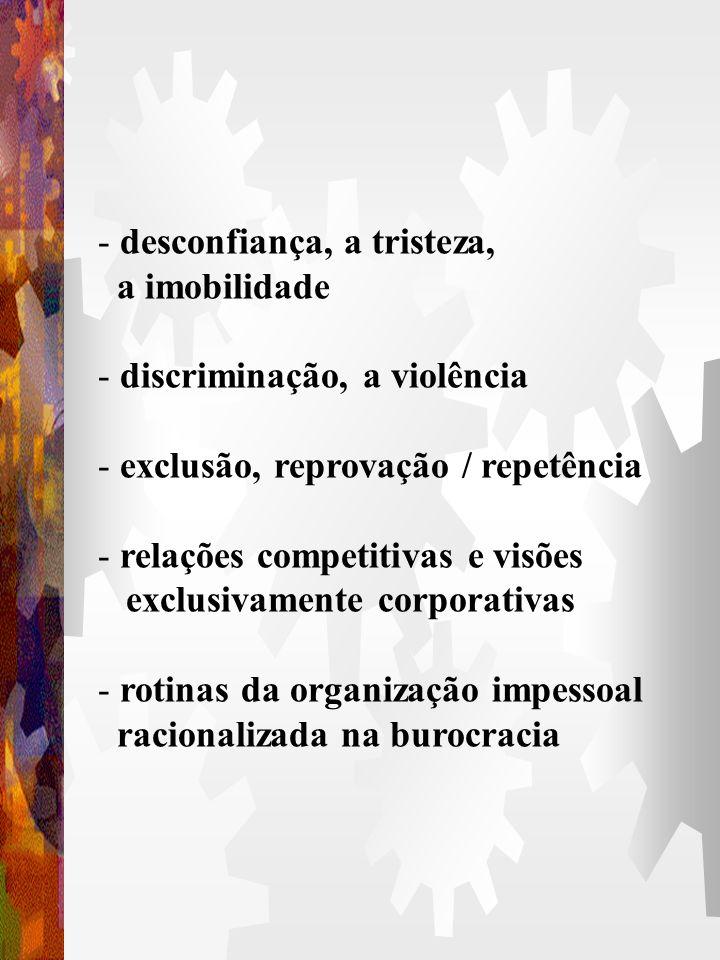 A PARTICIPAÇÃO ELIMINA - o autoritarismo, a prepotência, a rigidez hierárquica - a arrogância, a indiferença - o individualismo, o comodismo - as rela