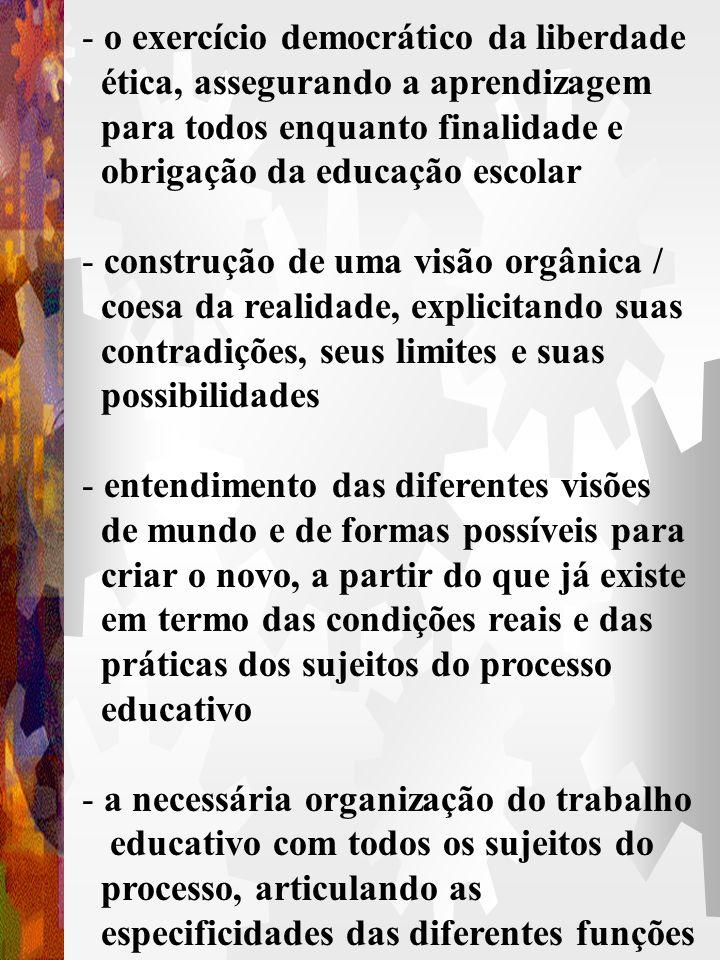 - construção de prática coletiva de avaliação contínua dos processos de organização do trabalho pedagógico e da aprendizagem - discussão crítica sobre