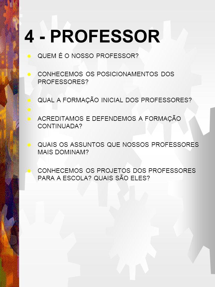 4 - PROFESSOR QUEM É O NOSSO PROFESSOR.CONHECEMOS OS POSICIONAMENTOS DOS PROFESSORES.